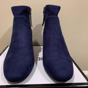 NWT Nine West Navy Suede Boots with Metallic Heel